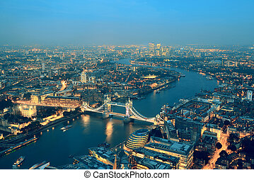London night - London aerial view panorama at night with...