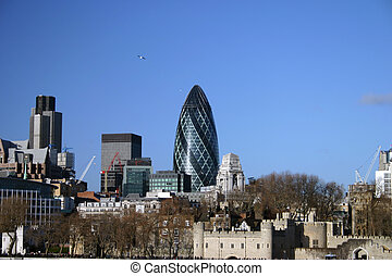 view of Londons skyline showing old and new architecture of the city