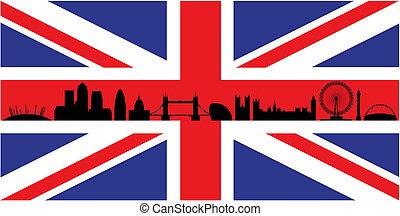 London on union jack flag - London skyline silhouette...