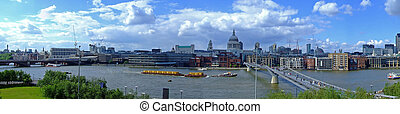 Cloudy sky day London and Thames river panorama