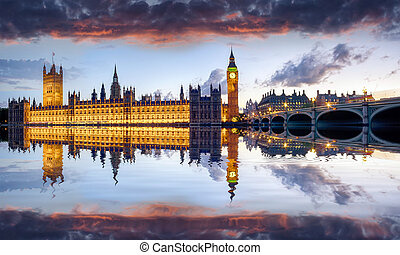 London - The houses of Parliament and Westminster Bridge...
