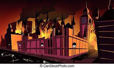 London plague epidemic in fire vector illustration