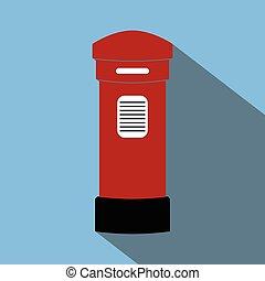 london post box long shadow flat vector