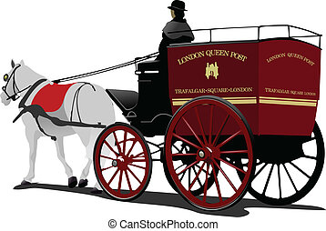 London post horse cab with driver