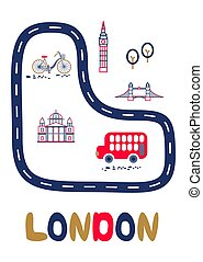 London poster with text and landmarks vector illustration.