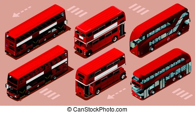 London Red Bus 3D Vector Isometric - Red bus isolated double...