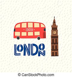 London red bus and Big Ben on the zig zag pattern background