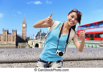 london, reise, frau, glücklich