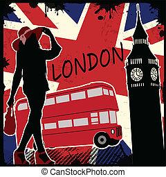 london, retro, plakat