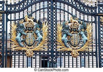 LONDON -Royal Crest at Buckingham Palace Gate - famous landmark,