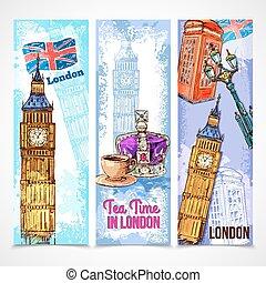 london, satz, banner
