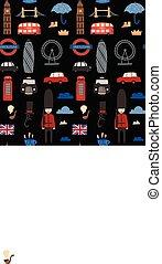 London seamless pattern. Cartoon doodles background