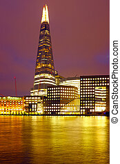 London shard at night in the UK