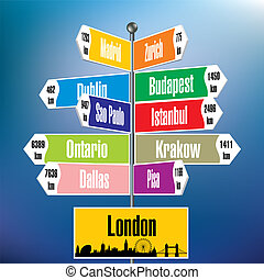 London signpost with cities and distances - vector...