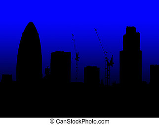 A Simple Silhouette Of The Skyline London Featuring Gherkin