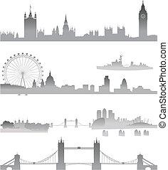 london, silhuett, horisont, detaljerad