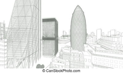 London sketch, The Gherkin, Swiss Reinsurance Headquarters,...