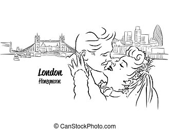 London Skylin with Honeymoon Couple