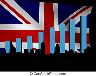 London skyline and graph over British flag