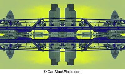 London skyline and people crossing the millennium bridge