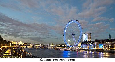 London Skyline at dusk from Westminster Bridge with illuminated