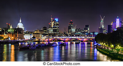 London skyline by night during the 2012 Olympics