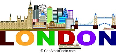 London Skyline Color Text Illustration