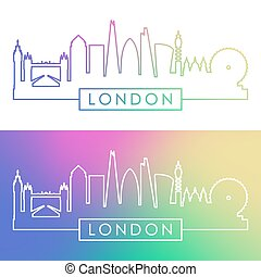London skyline. Colorful linear style.