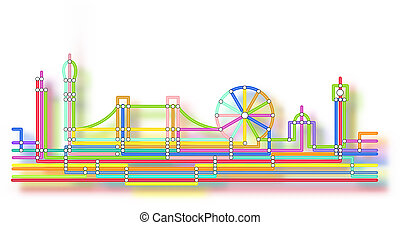 London skyline glow - Editable vector abstract design of the...