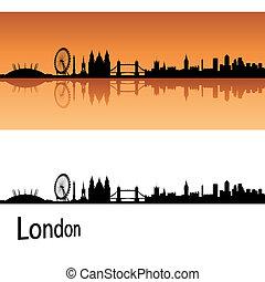 London skyline in orange background