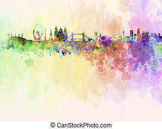 London skyline in watercolor background with clipping path