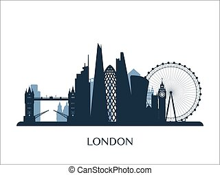 London skyline monochrome silhouette.