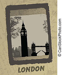 London skyline on antique poster