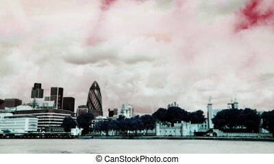 London skyline shot from the south bank for the river Thames