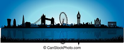 London Skyline Silhouette at night