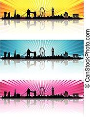 London Skyline Silhouette color sun rays