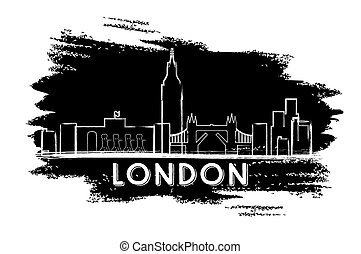 London Skyline Silhouette. Hand Drawn Sketch.