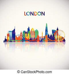 London skyline silhouette in colorful geometric style.