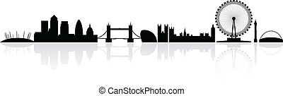 London skyline silhouette isolated on a white background with reflections, vector illustration