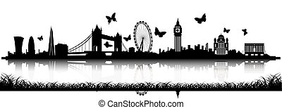 London Skyline Silhouette with butterfly