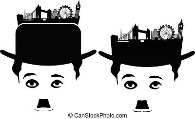 London Skyline Silhouette with charlie chaplin