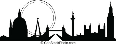london skyline - skyline silhouette of famous london city...