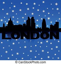 London skyline snow illustration