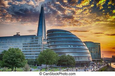 London skyline. Sunset reflections