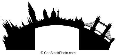 london, skyline, vektor, -