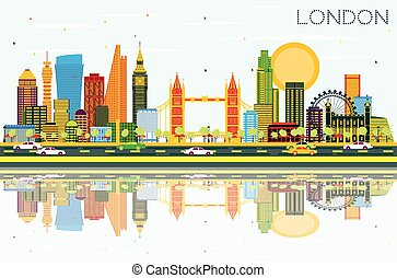 London Skyline with Color Buildings, Blue Sky and Reflections.