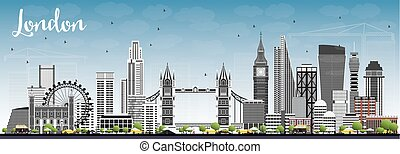 London Skyline with Gray Buildings and Blue Sky.
