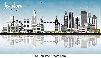 London Skyline with Gray Buildings, Blue Sky and Reflections.