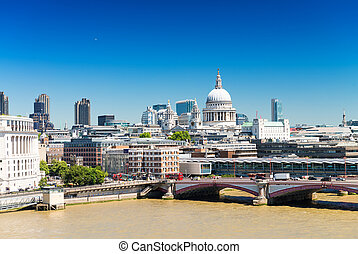 London skyline with St Paul Cathedral
