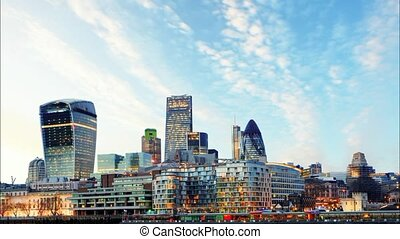 London Skylines at sunset, time lap